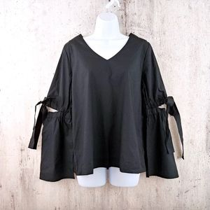 Black Open Elbow Bow Tie Bell Sleeve Boho Top